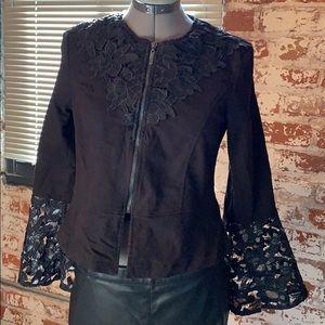 Kate & Mallory Denim and Lace Zipped Jacket